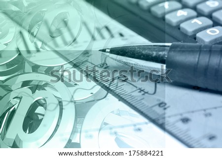 Business collage with pen, ruler and graph, in greens and blues. - stock photo