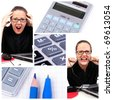 Business collage with shocked businesswoman - stock photo