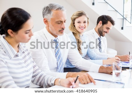 Business colleagues in a meeting at office