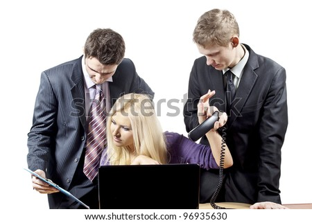Business colleagues working on the background - stock photo