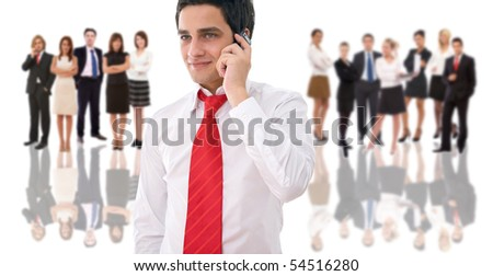 business communication concept with a man talking on phone - stock photo