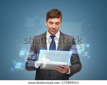 business, communication, future technology and office concept - buisnessman with tablet pc - stock photo