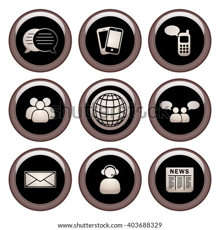 Business & Communication Icons Metal Icon Set. Raster Version - stock photo