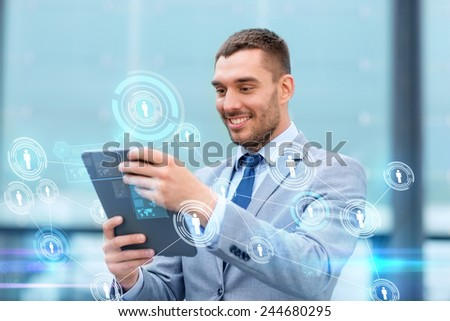 business, communication online, technology and people concept - smiling businessman working with tablet pc computer and network hologram on city street - stock photo