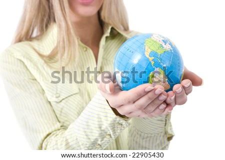 Business communications concept with a businesswoman holding globe