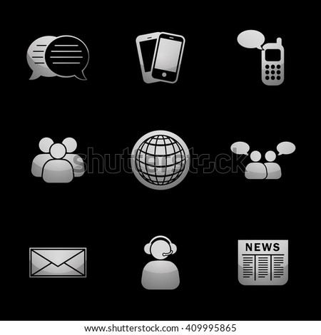 Business & Communications Icon Set with Silver Icons. Raster Version - stock photo