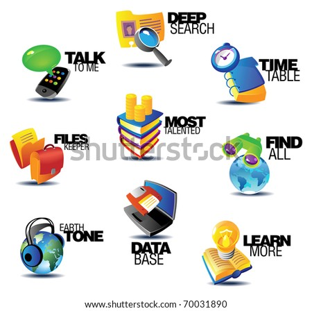 Business communications icons. Heading concepts for article or website. Raster version. Vector version is also available. - stock photo
