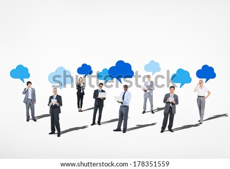 Business Communications with Cloud Speech Bubbles