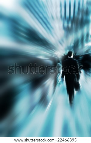 business commuter in the rush hour with motion blur effect - stock photo