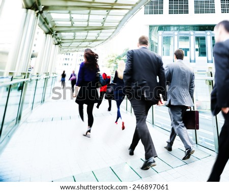 Business Commuter Walking Travel Corporate Office Concept - stock photo