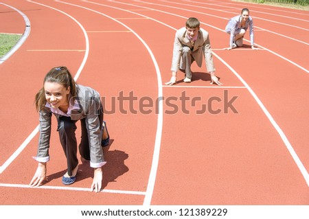 business competition, business at the start of the treadmill - stock photo