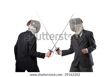 business competition concept: two businessmen in fencing suit with sword - stock photo