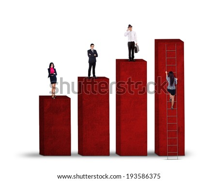 Business competition concept with business people standing on graph while the other try to climbing - stock photo