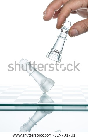 business Competition  Conflict, transparent glass Chess,  Reflection Copy Space standing - stock photo