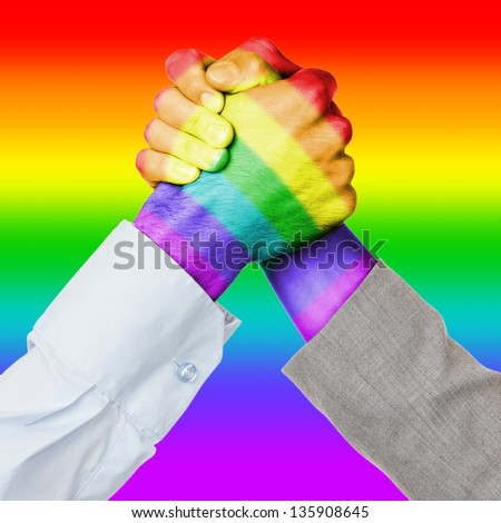 Business competition or fight, rainbow flag pattern - stock photo