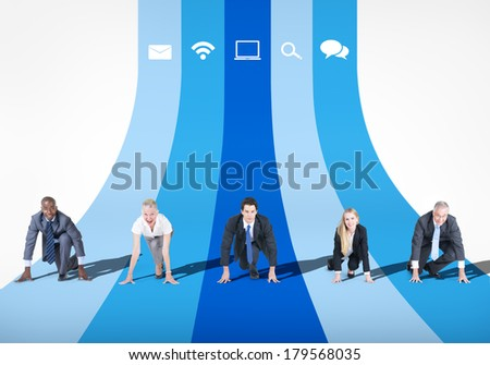 Business Competition Running Track - stock photo
