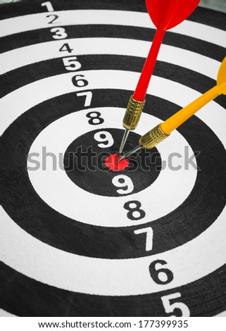 Business competition target concept and darts board