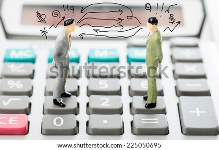 Business competitors ,two businessman stand and look for challenge together in thier market - stock photo