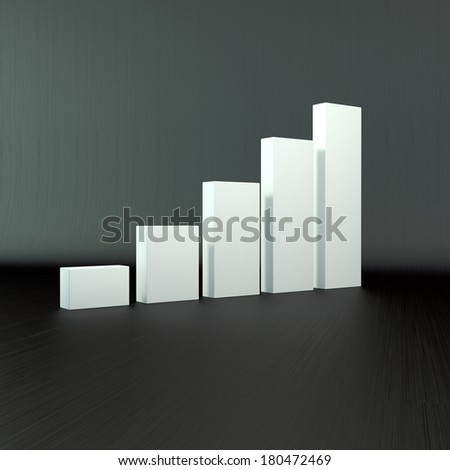 business composition - 3D Bar Chart and Business Growth - stock photo