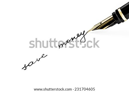 Business concept - a black fountain pen writes on a white background