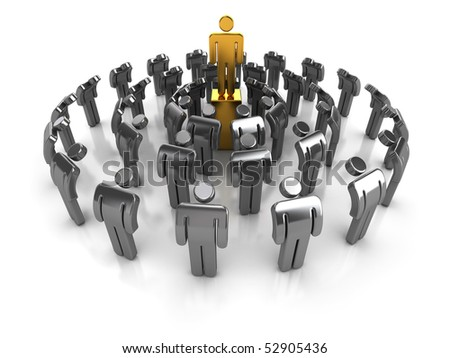 Business concept. A leader with team showing respect. - stock photo
