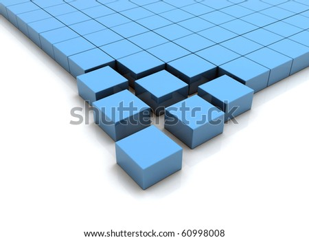 business concept abstract blue metallic cubes on a white