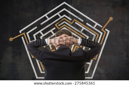 Business concept. Back view of businessman looking at a maze on wall - stock photo