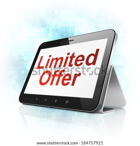 Business concept: black tablet pc computer with text Limited Offer on display. Modern portable touch pad on Blue Digital background, 3d render - stock photo