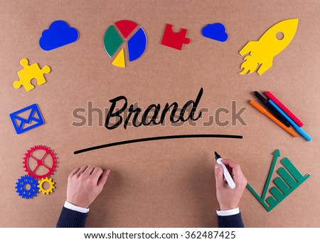 Business Concept-Brand word with colorful icons - stock photo