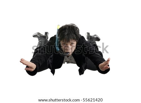 business concept - business woman falling down in free style without a parachute - stock photo