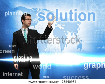Business concept - Businessman and screen