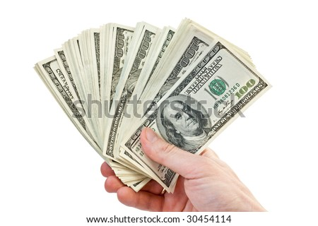 business concept. businessman counting money in hand