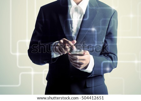 Business concept, businessman with smartphone.