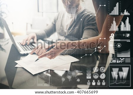Business concept. Businessmans crew working investment project modern office.Touching pad contemporary laptop. Worldwide connection technology,stock exchanges graphics interface. Horizontal - stock photo