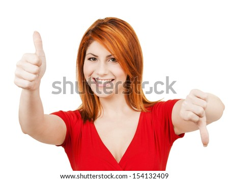 business concept - businesswoman with thumbs up and down