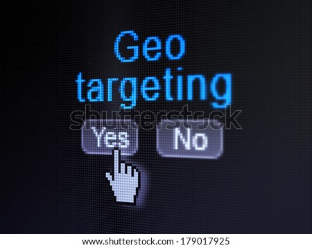 Business concept: buttons yes and no with pixelated word Geo Targeting and Hand cursor on digital computer screen, selected focus 3d render - stock photo
