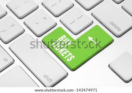 Business concept: Buy tickets key on the computer keyboard - stock photo