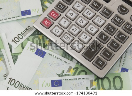 Business concept, calculator on money background