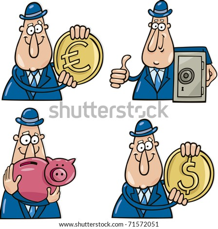 business concept cartoon illustrations with funny man - stock photo