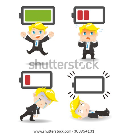 Business concept - Cartoon set of  business man with battery power - stock photo