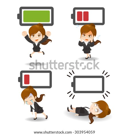 Business concept - Cartoon set of  business woman with battery power - stock photo