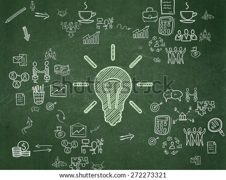 Business concept: Chalk Green Light Bulb icon on School Board background with Scheme Of Hand Drawn Business Icons, 3d render - stock photo