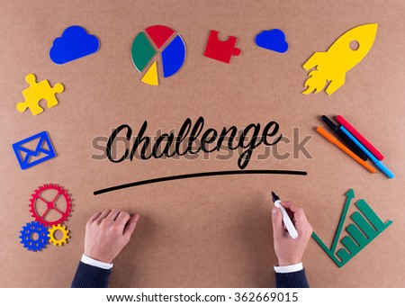 Business Concept-Challenge word with colorful icons - stock photo