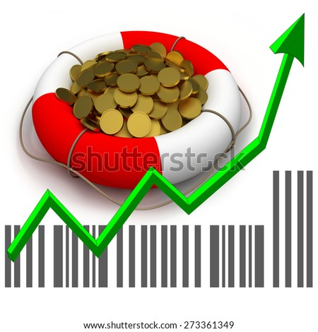 Business concept. Chart and arrow. Coins in lifesaver. - stock photo
