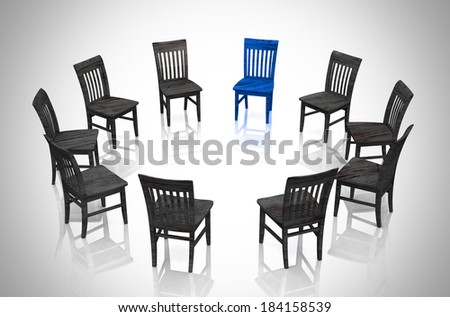Business concept - Circle of chairs blue and black - stock photo