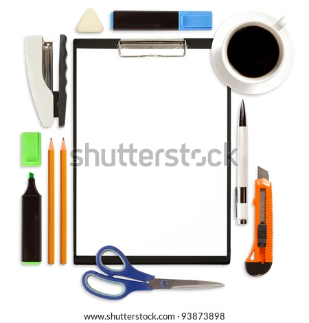 Business concept, clipboard with office supply isolated on white background - stock photo