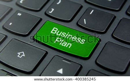 Business Concept: Close-up the Business Plan button on the keyboard and have Lime, Green color button isolate black keyboard