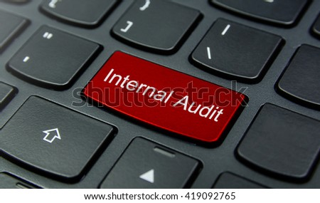 Business Concept: Close-up the Internal Audit button on the keyboard and have Red color button isolate black keyboard - stock photo
