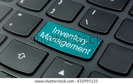 Business Concept: Close-up the Inventory Management button on the keyboard and have Azure, Cyan, Blue, Sky color button isolate black keyboard - stock photo