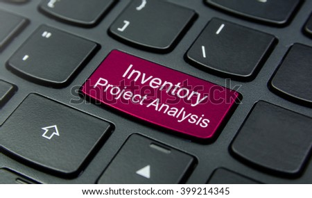Business Concept: Close-up the Inventory Project Analysis button on the keyboard and have Magenta color button isolate black keyboard - stock photo